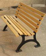 有靠背黄色铸铁脚室外休闲椅HT-XXY384