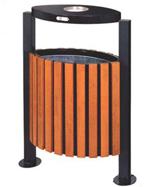 带盖烟灰盅支架钢木垃圾箱HT-GM6080