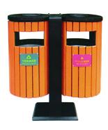 圆形钢木分类垃圾箱