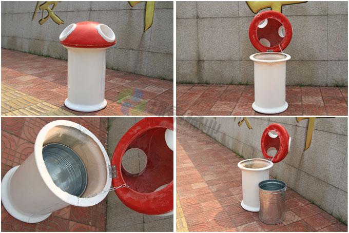 本款户外蘑菇造型玻璃钢垃圾桶采用手糊成型法制作