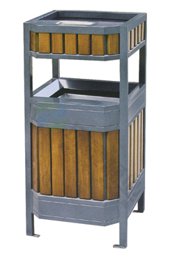 【佳木斯市萨尔图区户外长方形钢木垃圾桶ht-gm6740