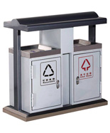 不锈钢包边钢制分类果皮箱HT-GZ4090