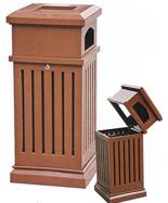 棕色方形钢制垃圾筒HT-GZ4290