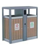 方形分类钢制防腐木果皮箱