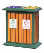 户外双桶木条分类果皮箱