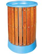 圆形户外钢木垃圾筒